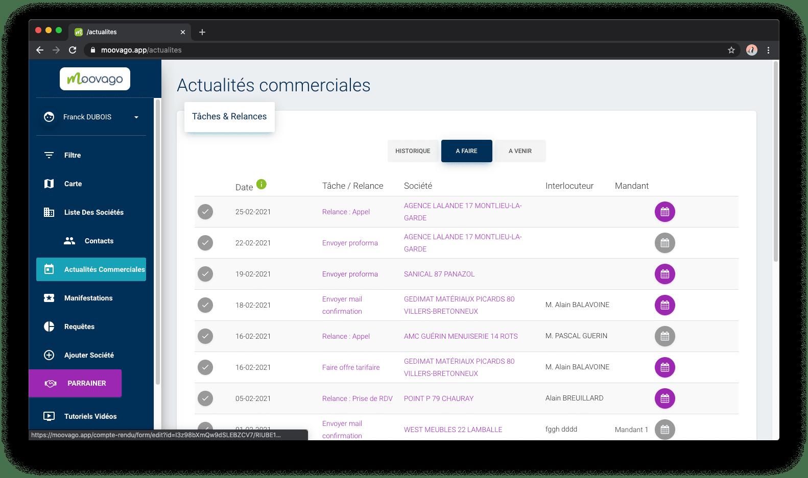 Personnalisation : Choisir la page d'accueil de Moovago, disponible seulement sur le web. Moovago, application commerciaux, CRM, ERP, PGI, GRC